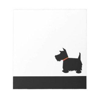 Libreta de la silueta del negro del perro de Terri Bloc De Papel