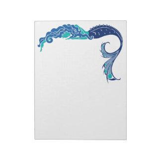 Libreta de la sirena en colores del pavo real bloc de notas