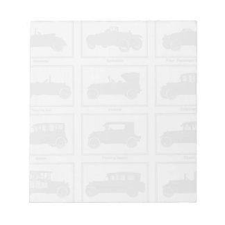 Libreta de los automóviles del vintage bloc de notas