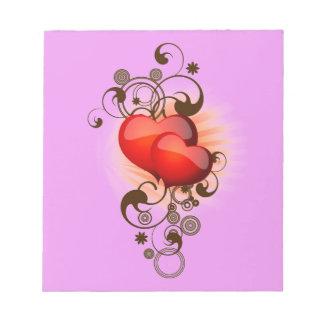 Libreta de los corazones del chocolate bloc de notas