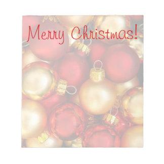 Libreta de los ornamentos de las Felices Navidad Libretas Para Notas