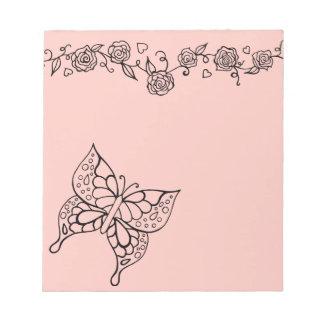 Libreta de los rosas de la mariposa blocs