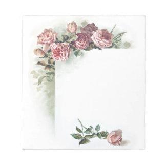 Libreta de los rosas rosados del vintage pequeña bloc