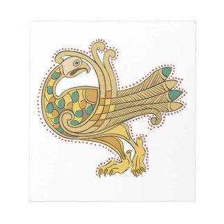 Libreta de oro medieval céltica del pavo real bloc de notas
