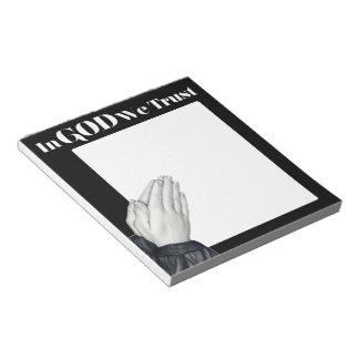 Libreta de rogación de las manos bloc de papel
