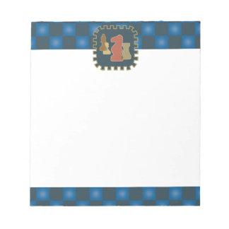 Libreta del azul de los pedazos de ajedrez bloc de papel