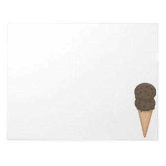 Libreta del cono de helado de chocolate blocs de papel
