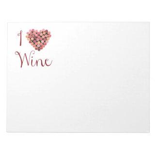 Libreta del corazón del corcho del vino libretas para notas