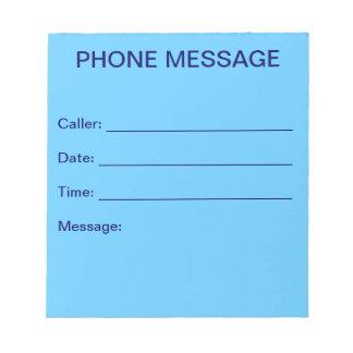 Libreta del mensaje de teléfono (azul de cielo) blocs de papel