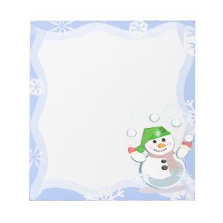 Libreta del muñeco de nieve del invierno que hace bloc