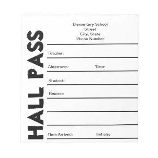 Libreta del paso de pasillo de la escuela bloc de papel