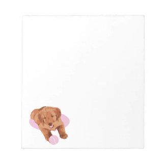 Libreta del perrito del golden retriever bloc