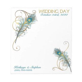 Libreta del personalizado del boda del pavo real bloc de notas