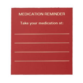 Libreta del recordatorio de la medicación blocs de notas
