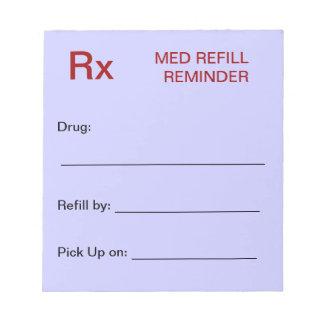 Libreta del recordatorio del repuesto de la medica blocs