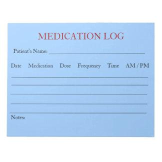 Libreta del registro de la medicación (azul de cie bloc