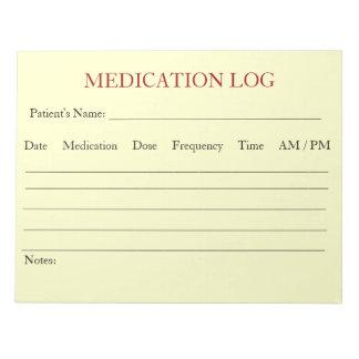 Libreta del registro de la medicación (blanca) libreta para notas