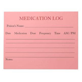 Libreta del registro de la medicación (rosa) bloc de notas