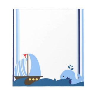 Libreta del velero y de la ballena bloc de notas