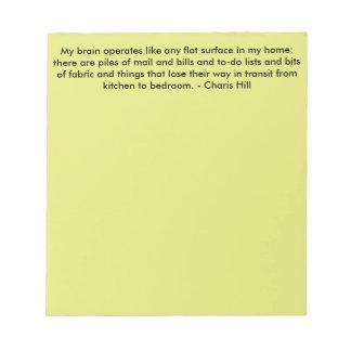 Libreta dispersada del cerebro bloc de notas