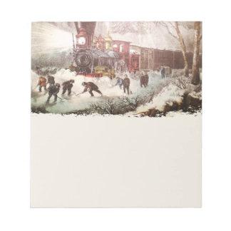 Libreta encuadernada del tren de la nieve bloc de notas
