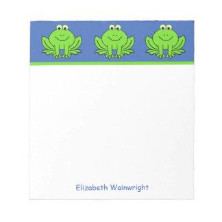 Libreta feliz personalizada de las ranas blocs de papel