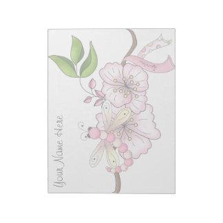 Libreta floral del superviviente del cáncer de pec bloc de notas