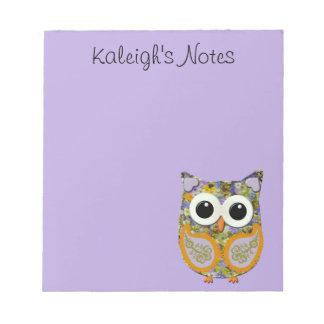 Libreta floral púrpura y amarilla linda del búho bloc de notas