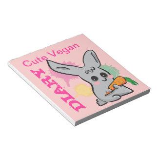 Libreta linda del diario del rosa del conejito del libretas para notas