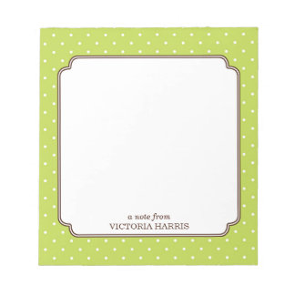 Libreta linda femenina personalizada lunar verde bloc de papel