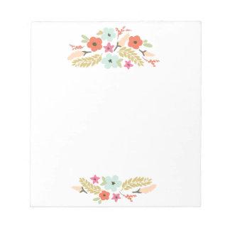 Libreta linda y colorida de las flores bloc de papel