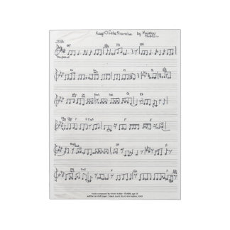 Libreta manuscrita de la partitura bloc de notas