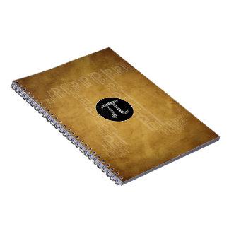 Libreta mecanografiada pi del empollón del símbolo
