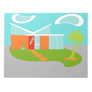 Libreta moderna de la casa del dibujo animado de blocs de papel