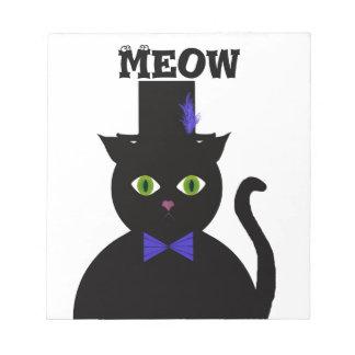 Libreta negra de BlueBow del gato de TopHat Bloc De Papel