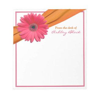 Libreta personalizada cinta anaranjada rosada del bloc de papel