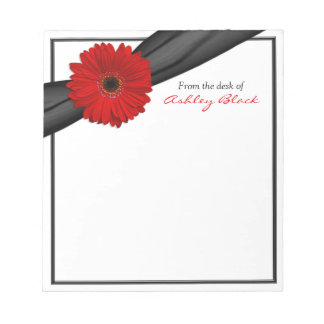 Libreta personalizada cinta roja de la margarita d bloc de papel