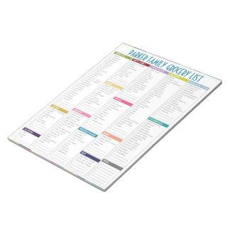 Libreta personalizada de la lista del ultramarinos bloc de papel