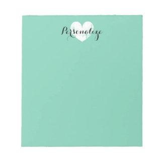 Libreta personalizada de la verde menta del blocs de notas