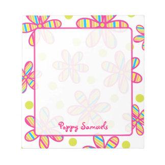 Libreta personalizada flor colorida rayada libreta para notas