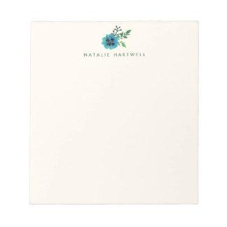 Libreta personalizada floral azul blocs de notas