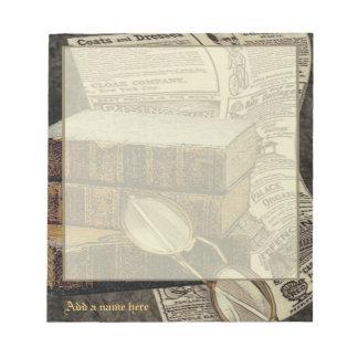 Libreta personalizada lectura del vintage pequeña bloc de papel