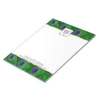 Libreta personalizada monograma del pavo real bloc de notas