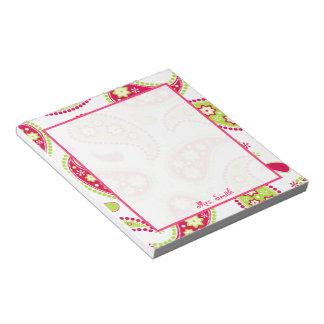 Libreta personalizada Paisley rosada y verde Libreta Para Notas