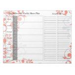 Libreta personalizada semanario floral coralino de bloc de papel