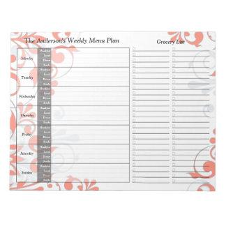 Libreta personalizada semanario floral coralino de blocs de papel
