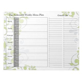 Libreta personalizada semanario floral verde del p bloc de papel