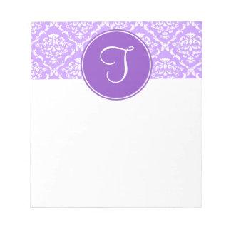 Libreta púrpura del monograma del damasco bloc
