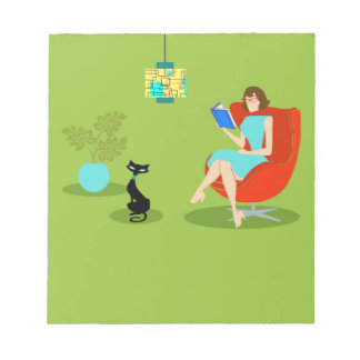 Libreta retra de la mujer de la lectura bloc de notas