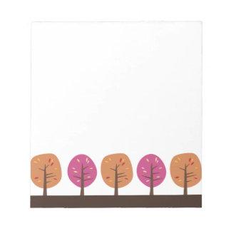 Libreta retra de los árboles de la caída blocs de papel